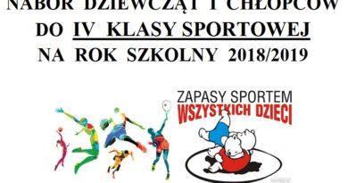 Nabór do 4 klasy sportowej na rok szkolny 2018/2019!