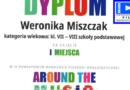 """Weronika Miszczak z kl. VIIIb zdobyła I miejsce w IX Powiatowym Konkursie Piosenki Anglojęzycznej """"Around the music""""."""